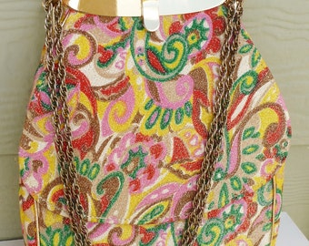 SALE Vintage Paisely and Pink Purse c1960s Gold Threaded Multi Color Handbag HL USA Harry Levine