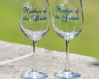 2 Personalized Mother of the Bride and Mother of the Groom gift wine glass.  Navy blue and white or you pick colors. Personalized wedding
