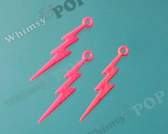 Pink Acrylic Lightning Bolt Charms, Lightning Charm Pendant, 45mm x 9mm (C2-08)