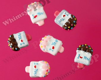 5 - SALE Kawaii Ice Cream Ice Cream Bar I Heart You I Love You Flatback Cabochons, Ice Cream Cabochons, 17mm x 12mm  (R5-083)