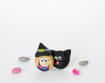 Black cat and witch post earrings - Fun Halloween jewelry - Wizard jewelry