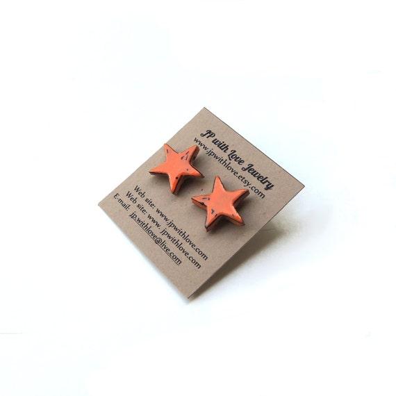 Star, Stud Earrings, Orange Stud Earrings, Star Earrings, Polymer Clay Jewelry, by JP with Love