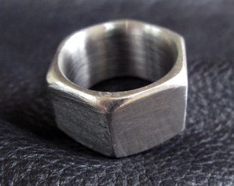 Hex nut ring, size 8.5 chunky industrial stainless steel band ring, modern unisex geometric jewelry