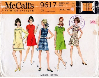 HALF PRICE 1960s A Line Yoke Dress Pattern McCall's 9617 Mod Vintage Sewing Pattern Bust 38 Plus Size