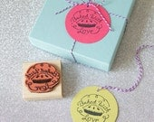 Baked with love bakery gift tag rubber stamp set - diy wrapping