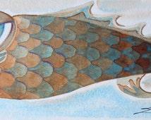 Whimsical Big Lip Fish-Original Water color painting-Funky Fish Tails-fish art-art fish-Nautical-Whimsical-Fish Painting-Beach house art-fun