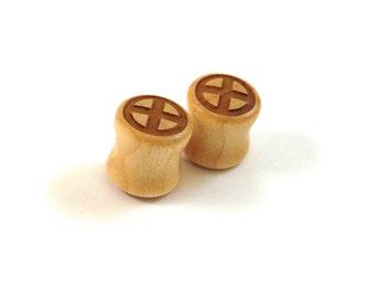 "X Symbol Maple Wooden Plugs PAIR 2g 6.5mm 0g 8mm 00g 9mm 10mm 7/16"" 11mm 1/2"" 13mm 9/16"" 14mm 5/8"" 16mm 3/4"" 19mm 7/8"" & up Comic Ear Gauges"