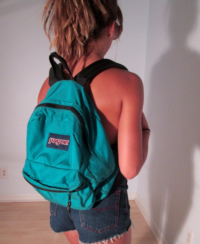 Rare Vintage Teal JanSport BackPack Neon Blue Green Boho