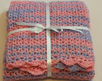 Crochet Baby Blanket - Purple and Pink