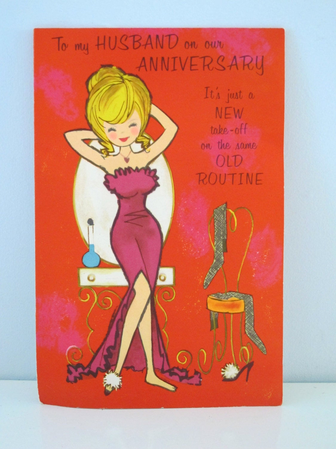 Happy anniversary vintage greeting card to my husband