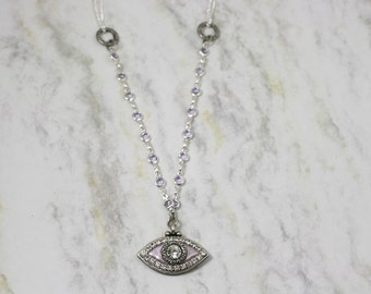 Michal Golan Medium Lilac Evil Eye Necklace with Crystals