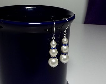 White and Blue Pearl Earrings , Mothers Day Gift Mom Sister Grandmother Jewelry, Dangle Drop, Cocktail