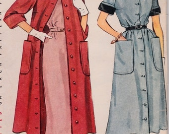 1950s Misses' Coat Dress and Duster Simplicity 3409 Vintage Women's Sewing Pattern Bust 29""