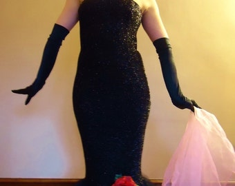 Barbie Solo in the Spotlight inspired adult size gown dress replica black sparkle bodycon spandex and tulle with gloves and accessories SALE