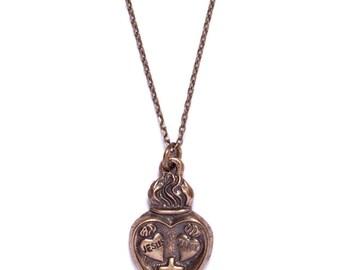 End of season SALE - Men's Jewelry - Tattooed Heart Necklace for men - Heart necklace for men