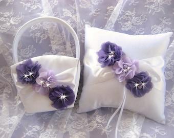 Sale Flower Girl Basket Ring Bearer Pillow Set Purple and Lavender