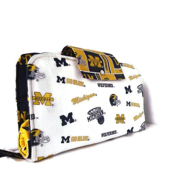 Diaper Clutch With Changing Pad And Wipes Case - University of Michigan Wolverines Print Three Piece Set