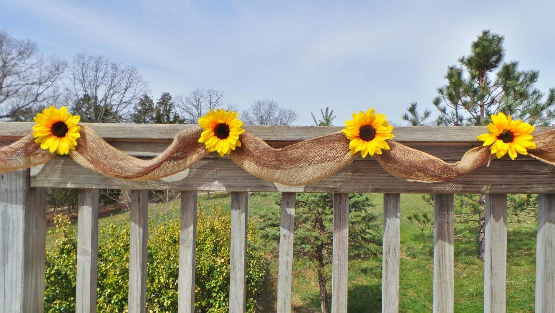 sunflower wedding decor burlap garland bridal shower decor. Black Bedroom Furniture Sets. Home Design Ideas