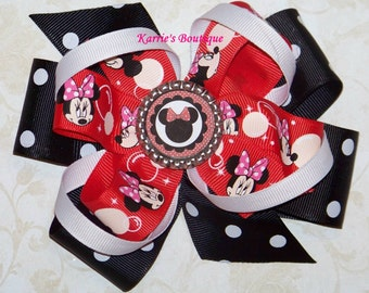 Minnie Mouse Hair Bow or Headband / Red & Black / Disney Princess / Pageant / Photo Prop / Infant / Baby / Girl / Toddler / Custom Boutique