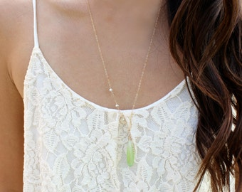 Asymmetrical Island Paradise Necklace - Lime Green Chalcedony & Freshwater Pearls - 14k Gold Fill