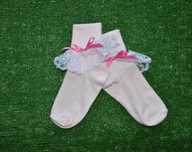 Pale Pink -  Lace Socks with Bow for Little Girls - Size 6-7 1/2 (XS) - US Shoe Size 6-11