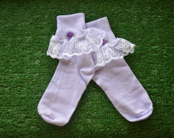 Lavendar -  Lace Socks with Rose for Little Girls - Size 8-9 1/2 (M) - US Shoe Size 12-6