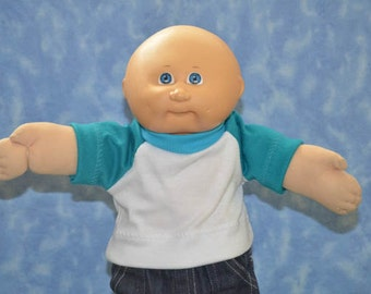 """Cabbage Patch Doll Clothes - for 16"""" - 18"""" Boy or Girl Dolls - Teal and White T-Shirt - Handmade"""