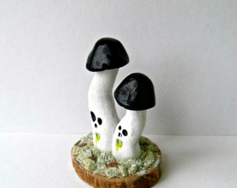 Mushroom Decor - The Ghost Mushroom - Fungus Phasma - Polymer Clay Mushroom Sculpture - Halloween Decor - Mixed Media Figurine - OOAK