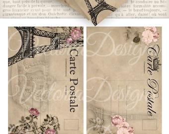 Paris Postcards 5 x 3.5 inch printable images instant download digital collage sheet VD0568