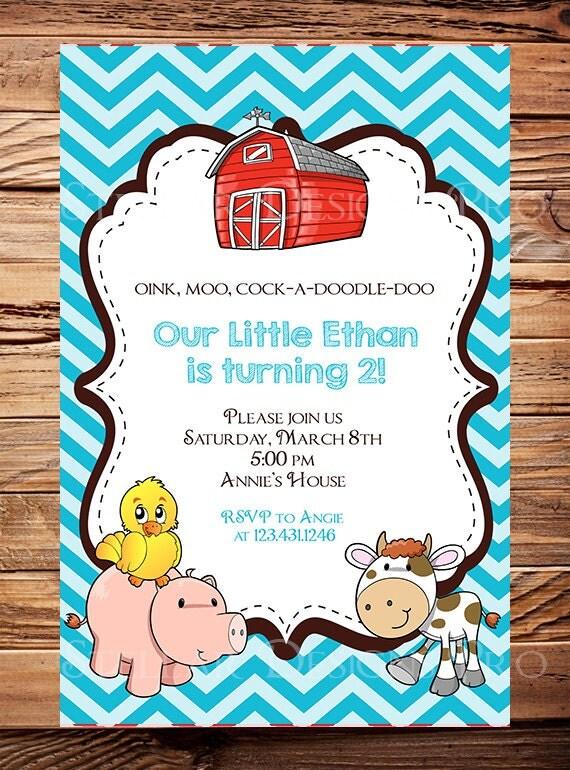 Farm Animals Birthday Party Invitation, Farm Animals Birthday Invite, Girl, Boy, Birthday Party, Birthday Party Invite, Digital -Y116