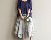 Boho Asymmetric Skirt in Gray Summer Skirt Full Hem Skirt Free Size Skirt Loose Fitting Skirt Boho Style