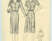 1940's Dress Pattern Butterick 2371 Misses Shirt Dress Pleated Skirt Vintage Sewing Pattern Bust 36