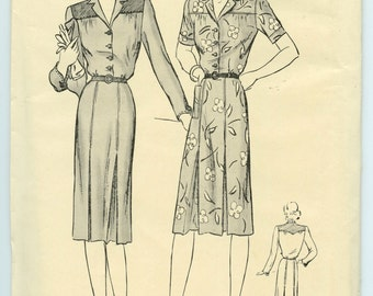 1940's Dress Pattern Butterick 2371 Misses Shirt Dress Pleated Skirt Vintage Sewing Pattern Bust 36