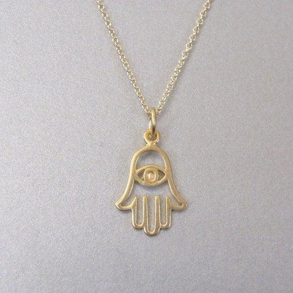 Gold Hamsa Hand Pendant Necklace Hand necklace Spiritual