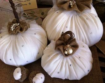 Set of Large White Velvet Pumpkins - Wedding - Holiday - Decoration