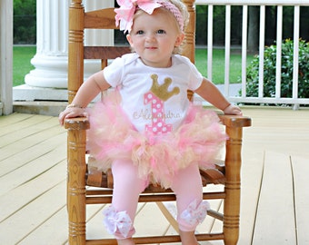 Baby Girl First Birthday Tutu Outfit -- Royal Princess As Seen in VOGUE -- bodysuit, leg warmers, tutu, Over The Top bow in pink and gold