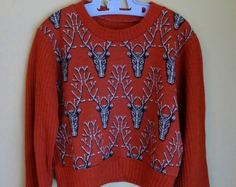 CHRISTMAS SWEATER--Adorable 1940s Kids Sweater with Reindeer or Stags in Ochre