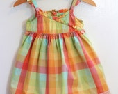 Baby Girl  Warm Rainbow Plaid Spring Summer Dress with Authentic Vintage Lace Trim - 3 to 6 months