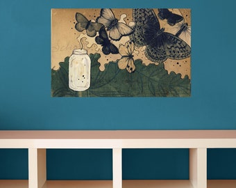 """Butterfly Collage Art Wall Decal by Hollie Chastain - """"Summer Turns To High"""""""