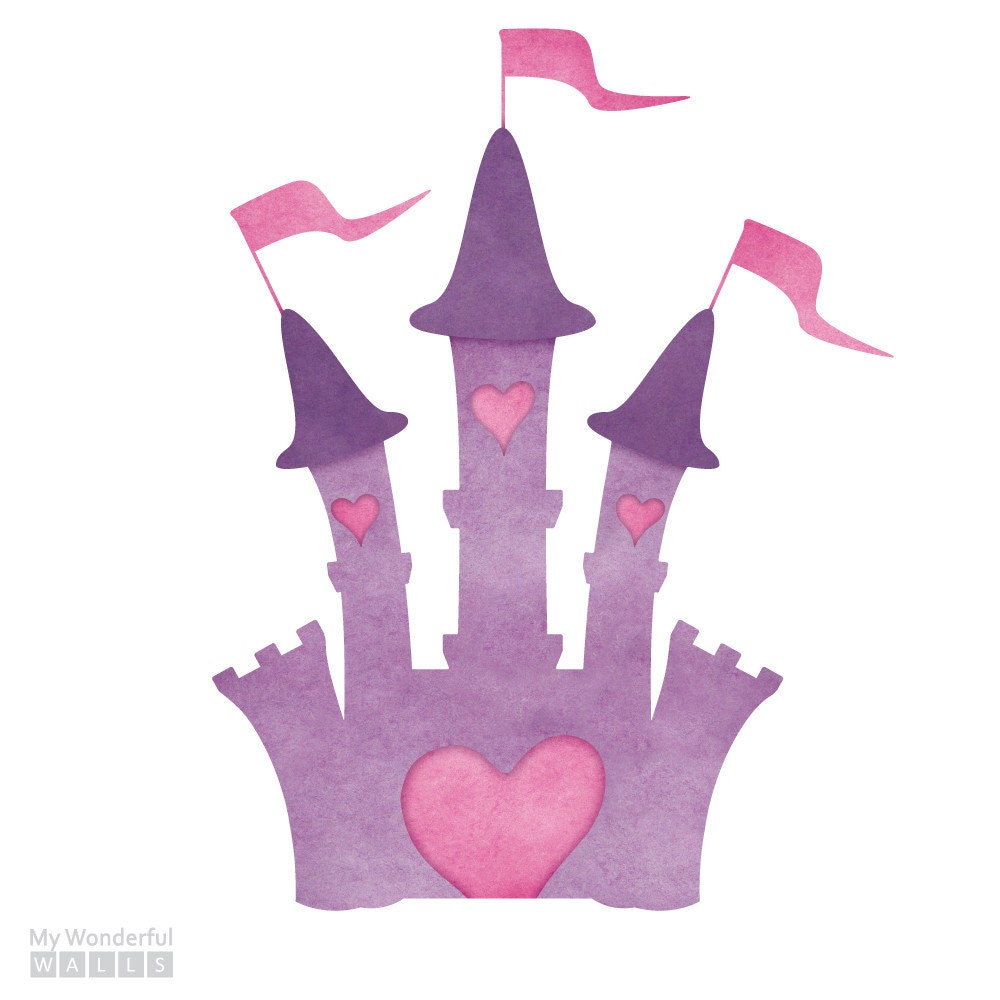 Princess castle wall sticker decal for princess mural for Castle wall mural sticker