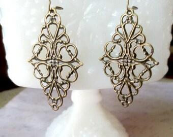 Large filigree earrings- Antique bronze filigree earrings- Ornate filigree earrings- Lace filigree earrings- Filigree earrings- Fall fashio