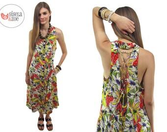Vintage 80s Tropical Floral Halter Dress / Floral Midi Dress / Criss-Cross Back Dress • sm • md