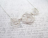 Rose Necklace, Silver Wire Necklace, Flower Necklace, Swedish Jewelry, Made in Sweden, Scandinavian Jewelry Design