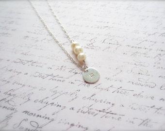 Initial Necklace, Customized Jewelry, Pearl Jewelry, White Pearl Necklace, Swedish Jewelry, Made in Sweden, Scandinavian Jewelry Design
