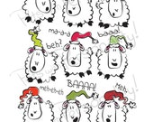 Printable Christmas Card 01 - Sheep Themed - Seasons Bleatings