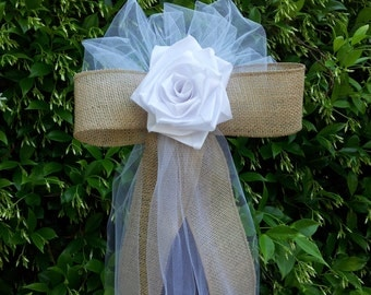 Tulle And Burlap Bow Etsy