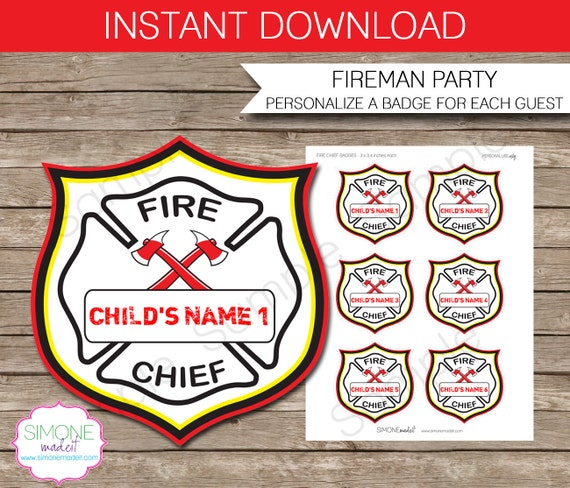- Fireman Birthday Party - INSTANT DOWNLOAD and EDITABLE template ...