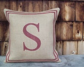 Burlap Initial Pillow Cover with Double Stripe Border - Sizes 16 x 16 to 24 x 24 - Monogram Pillow- Accent Pillow - Choose Your Colors