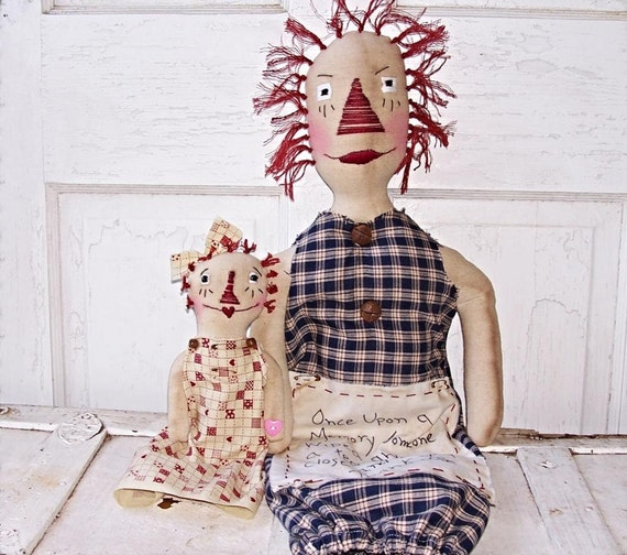 Rag Doll Folk Art Bag Holder Dolls Raggedy Annie Dolls Prims*Gone*Wild