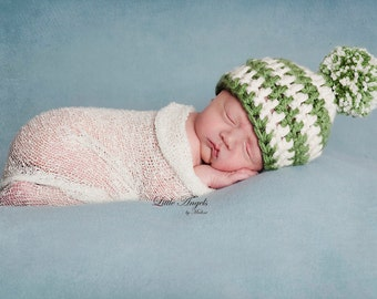 Newborn Baby Boy Photography Prop Striped Hat Beanie w/removable pom-pom (over 70 colors, sizes nb, 1-3mos, 3-6mos, and 6-12mos)
